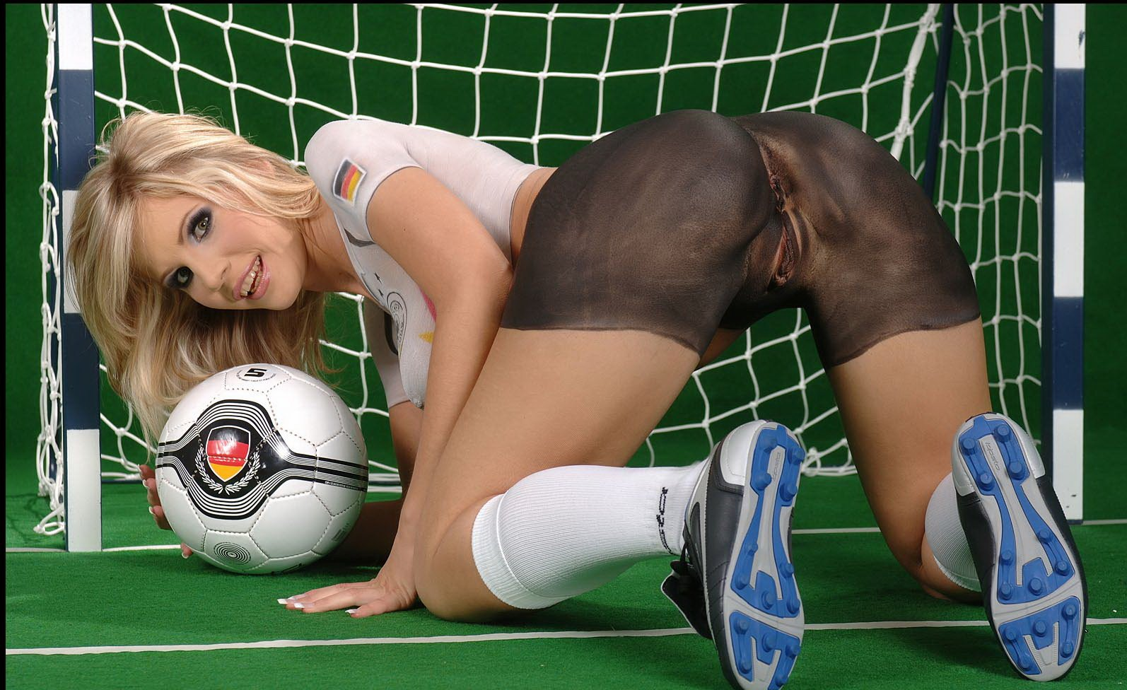 Four sexy pornstars competing in a game of football for a hard dick